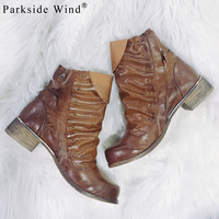 Parkside Wind New Polished Women's Boots Brand Pleated Shoes Woman High Quality PU Leather Flat Ankle Boot Women's Shoes N1364 5