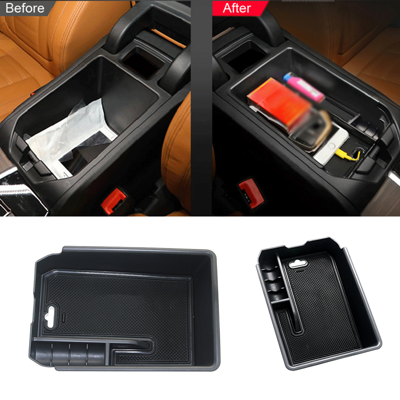 For <font><b>BMW</b></font> <font><b>X3</b></font> <font><b>G01</b></font> <font><b>2018</b></font> Interior Center Central Glove Storage Box Armrest Box Container Organizer Tray Holder Car accessories Black image