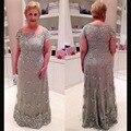 Elegante Plus Size Mãe Dos Vestidos de Noiva Pescoço Quadrado Mangas curtas Mãe Do vestido de Noiva Curto de Cetim E Rendas vestido