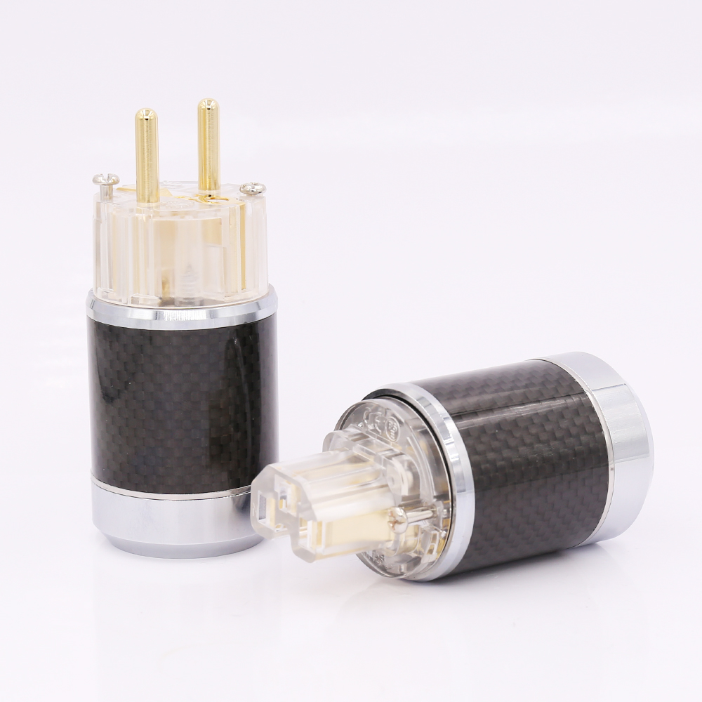 цена на Pair Carbon Fiber Gold Plated EU Schuko Male Plug IEC Female Connector DIY Mains Power Cable