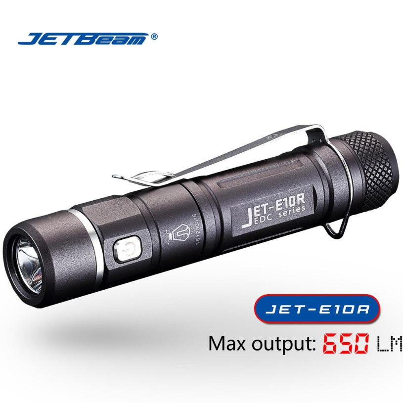 JETBeam E10R CREE XP-L HI 650 Lumens USB Rechargeable Waterproof LED Flashlight by 14500 Battery ip68 waterproof headlamp hr20 cree xp l hi led 1000 lumens headlight with built in usb charger by1x18650 2xcr123a battery