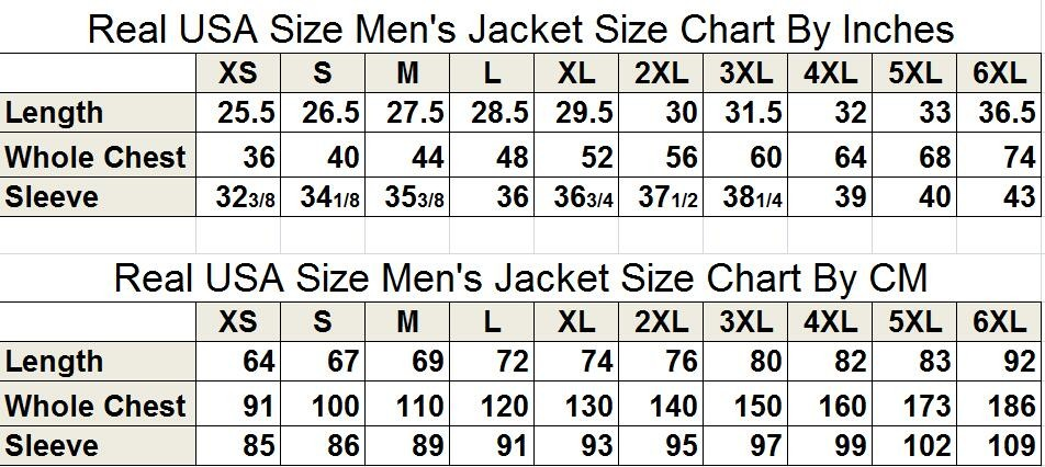 jacket size chart cm inches
