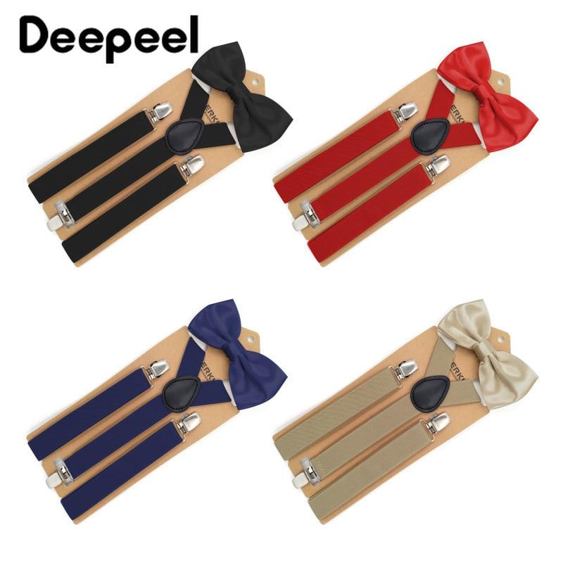 Deepeel 1pc 2.5X110cm Bow Tie Set 3 Clips Suspenders Unisex Elastic Adjustable Strap Suspenders Suit Decoration Men's Trousers