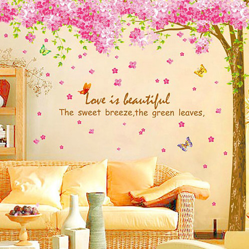 Purple Romantic Big Flower Wall Stickers Home Decor: 1 Set 100*100 Inch Removable PVC Decals Romantic Sakura