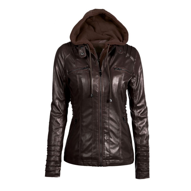 Women Pu   Leather   Jacket Autumn Winter Bright Colors High Quality Ladies Fashion Hooded Streetwear 5 Colors