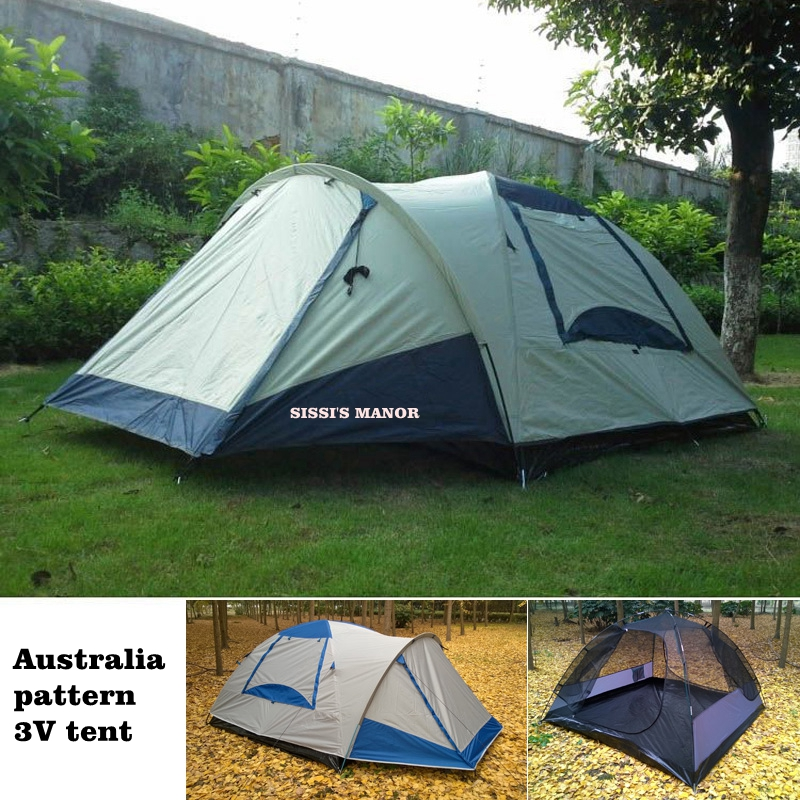 SISSI'S MANOR Australia pattern 3-4 persons 1hall 1room high quality family camping tent waterproof outdoor tent with hall high quality outdoor 2 person camping tent double layer aluminum rod ultralight tent with snow skirt oneroad windsnow 2 plus
