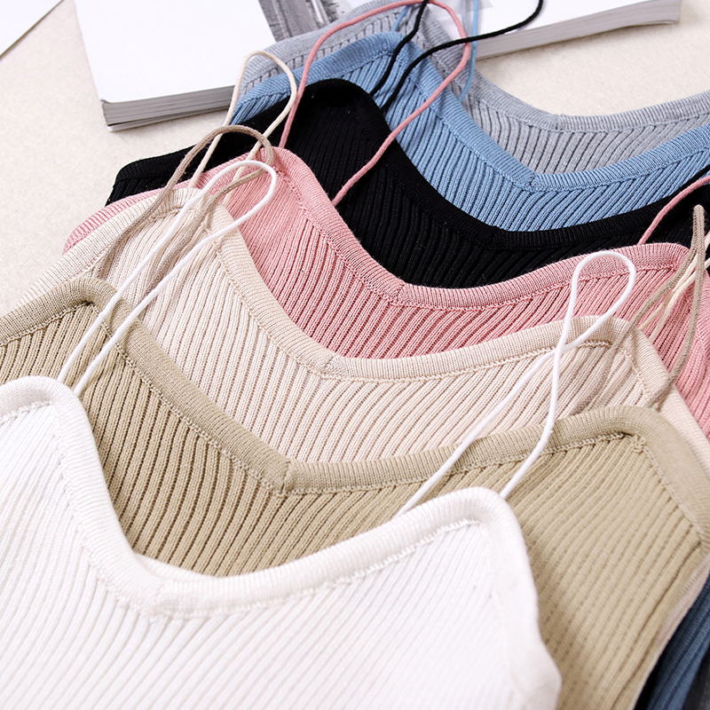 Summer Women Fashion Slim Deep V-neck Knitting Camis   Tops   With Spaghetti Straps Girl Knitted   Tank     Tops   Sleeveless T shirts
