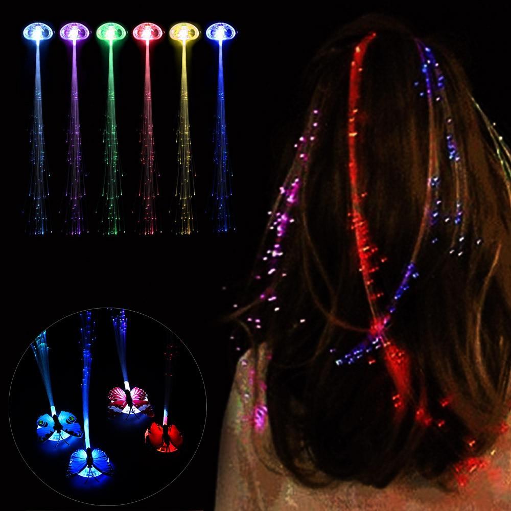 1pcs Glow Blinking Hair Clip Flash Led Braid Show Party Toys Kids Headwear Colorful Luminous Braid Optical Fiber Wire Hairpin High Safety