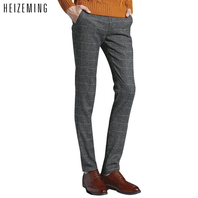 New Time-limited Regular 2016 Slim Plaid Pants Men Plus Size S-2xlbusiness Long Trousers Casual Men's Clothing Free Shipping