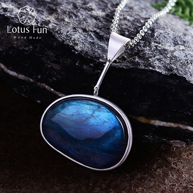 Lotus Fun Real 925 Sterling Silver Natural Labradorite Handmade Fine Jewelry Lake Of Tears Pendant Without Necklace Women