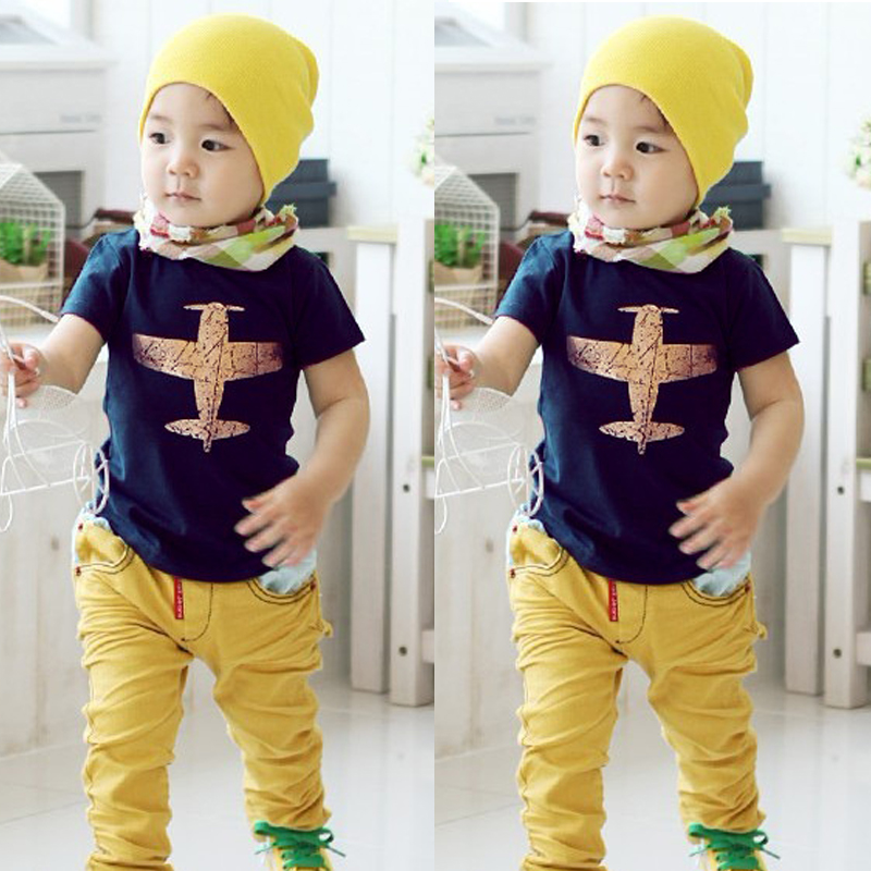 Baby Boy Cloth Summer T Shirt Kids Short Sleeve T-shirt Tops Toddler Boys Summer Clothes Plane Top tee