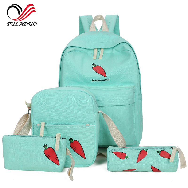 4pcs/Set Backpack Women Fruit Printing Backpack Canvas Bookbags School Backpacks Students Bags for Teenage Girls Bagpack Backbag