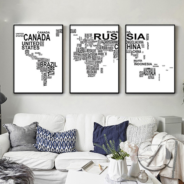 Letter world map poster canvas prints minimalist wall art painting letter world map poster canvas prints minimalist wall art painting black white decorative picture for living gumiabroncs Images