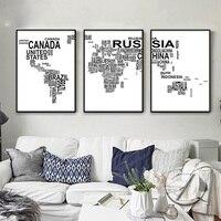 Thư World Map Poster Canvas Prints Tối Giản Tường Nghệ Thuật Tranh Đen Trắng Hình Ảnh Trang Trí cho Trang Trí Phòng Khách