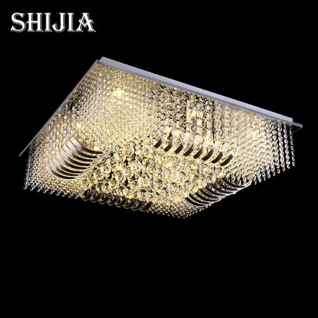 New luxury modern rectangle flush mount crystal chandelier lighting l800w800h290mm free shipping