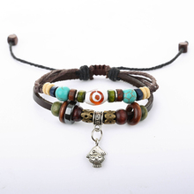 hot deal buy new fashion bead leather bracelets & bangles for women 1 set multilayer wristband charm bracelet men bangles male jewelry gift