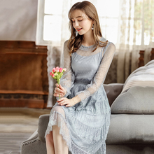 2019 Autumn Sexy Elegant Dress Women Long Sleeve O Neck Gown Office Lady Polyester Evening Party Gray Blue Maxi Casual Dresses
