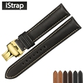 iStrap 18mm 19mm 20mm 21mm 22mm Watch straps France calf leather Watch bands with Yellow gold  butterfly buckle for Omega IWC