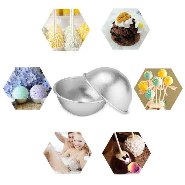 8Pcs Bath Bombs Mold Aluminum Alloy Bath Salt Bomb Mold 3D Ball Sphere Shape DIY Bathing Tool Accessories 3