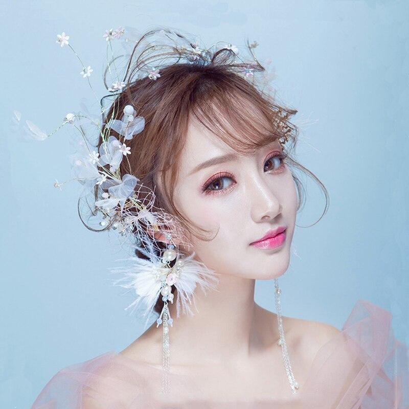 white yarn headpiece bridal wedding