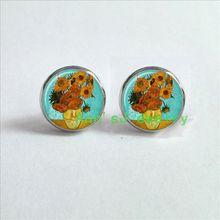 ES-00200 1pair SUN pierced earrings FLOWERS Earrings Van eardrops Gogh Earrings glass Cabochon Earrings