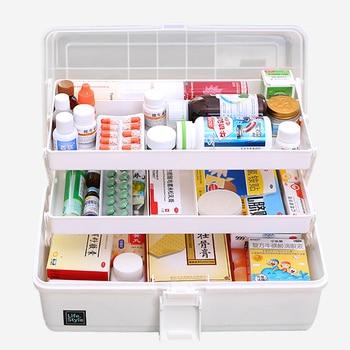 Boîte de premiers soins ménagère multicouches | Boîte de premiers soins surdimensionnée 33x18x17.5cm, organisateur armoire à médicaments, boîtes de rangement bacs conteneur