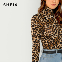 SHEIN Brown Highstreet Office Lady High Neck Leopard Print Fitted Pullovers Long Sleeve Tee 2018 Autumn Casual Women T-shirt Top
