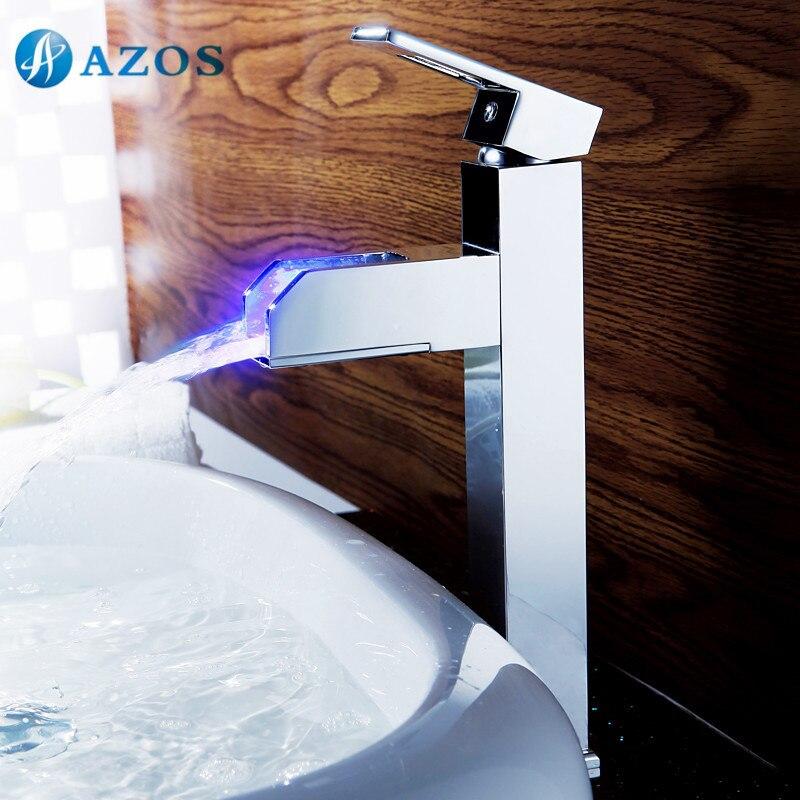 lavandino del bagno rubinetti led chrome polish cascata becco deck mounted singola maniglia hot cold water