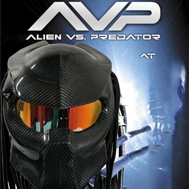 Vcoros Predator Carbon Fiber Motorcycle Helmet Red Eyes