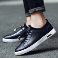 New 2016 Leather Casual Shoes Men Board Shoes Lace-Up Round Toe Flats Shoes White Korean Fashion Shoes SMYXP-E0046