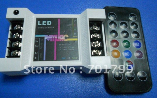 LED IR music controller,DC12-24V input,10A*3 channel output;led controller
