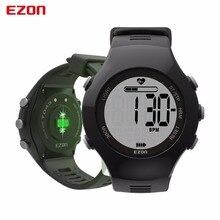 Ezon calorías podómetro monitor del ritmo cardíaco del sensor óptico de alarma hombres deportes relojes digitales reloj running escalada reloj de pulsera
