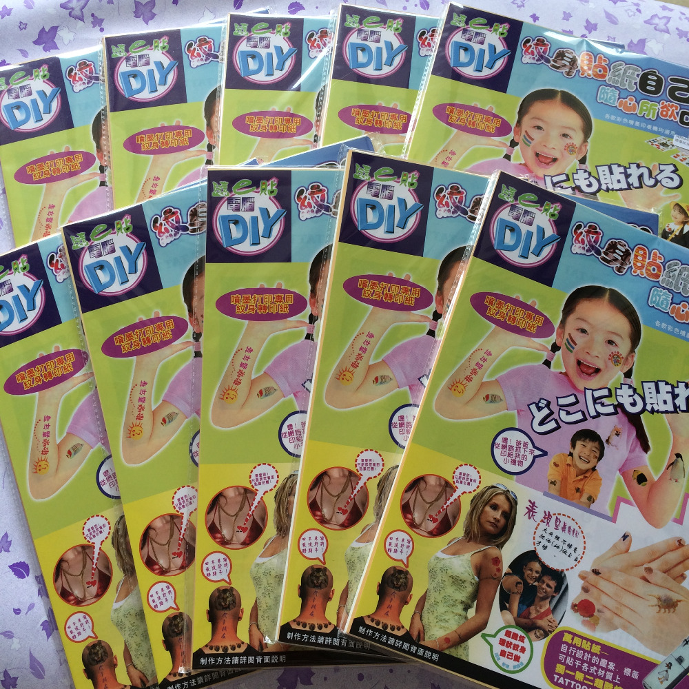 Temporary tattoo japan 100 sets lot A4 size inkjet water slide temporary tattoo paper
