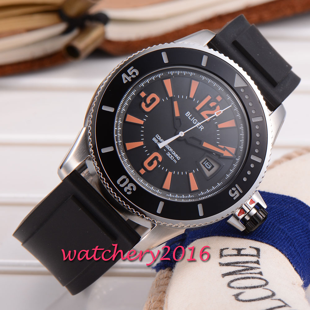 43mm Bliger black dial rubber strap orange marks Newest Hot brand miyota Automatic movement Mechanical Wristwatches Men