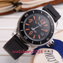 43mm Bliger black dial rubber strap orange marks Newest Hot brand miyota Automatic movement Mechanical Wristwatches Men's Watch