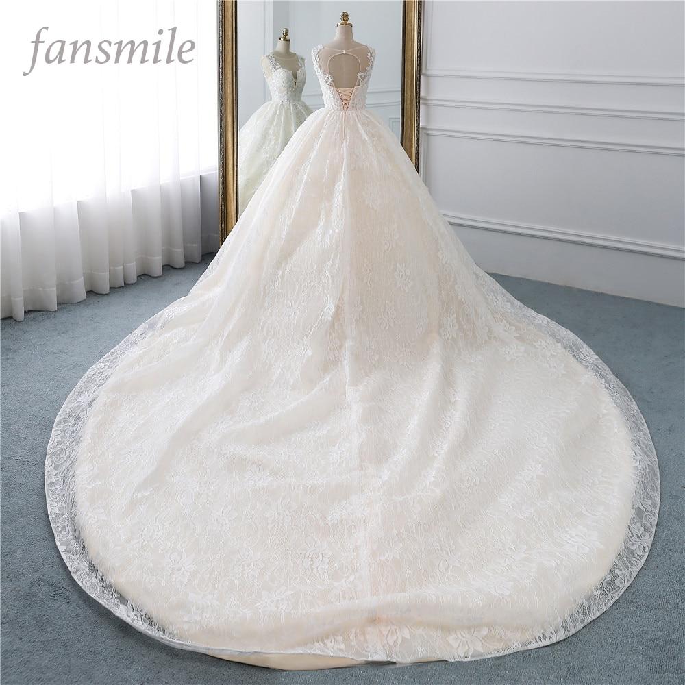 Fansmile Luxury Lace Long Train Ball Gown Wedding Dress 2019 Vestidos de Novia Princess Quality Wedding Bride Dress FSM-528T