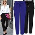 2016 Summer Plus Size 5XL Black Blue Elastic Waist Trousers Maternity Women Fashion Female Harem Pants