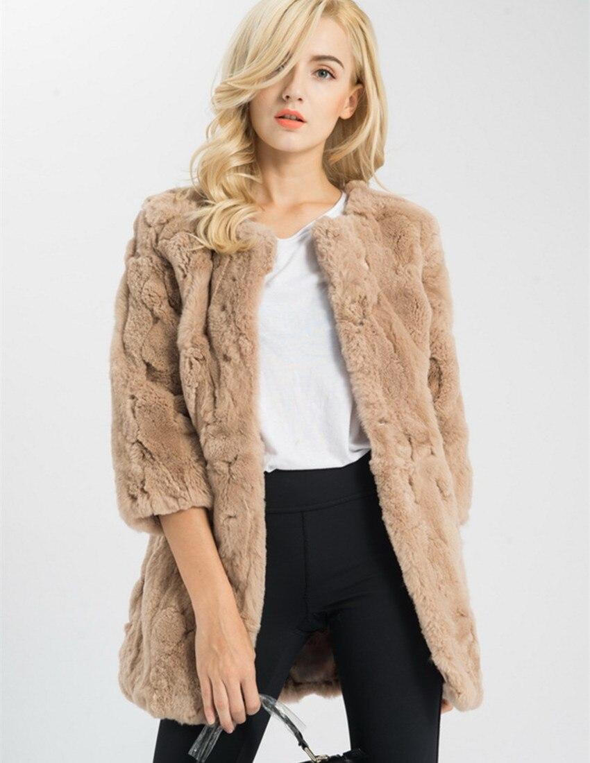 S1537 Lady Real fur jacket Women Genuine Rex Rabbit fur long coat pocket winter warm 3