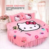 รอบเตียงชุดเครื่องนอนขนาดคิงไซส์HELLO KITTYแมวสาวภาพบ้านหวานปกผ้านวมเตียงแต่งงานปลอกหมอนbedskrit