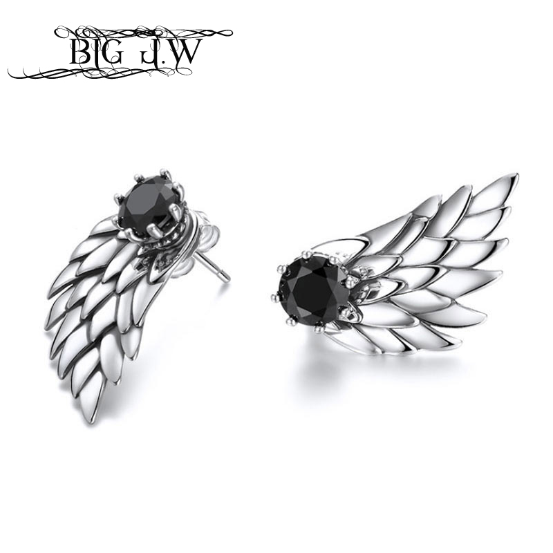 BIG J.W Punk Earrings Vintage White Black Zircon Clear Feather Fine Jewelry 925 Silver Jewelry Wings Stud Earrings For Women copper jewelry leopard head hanging pearl stud earrings tiger head green rhinestone black stud earrings for women