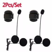 2pcs Motorcycle Earphone Speaker Microphone Clip 3 5mm Jack Plug Earphone Stereo For V6 intercom V4