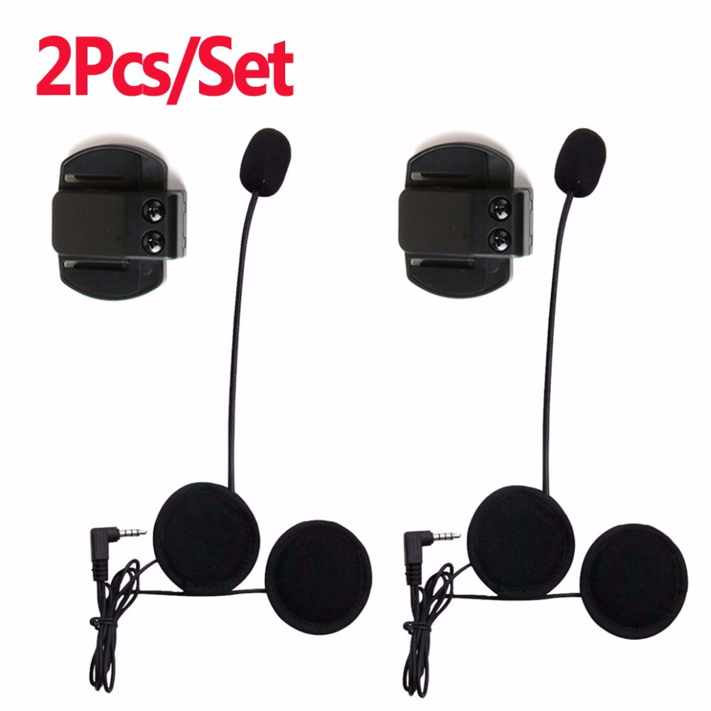 2pcs Motorcycle Earphone Speaker Microphone & Clip 3.5mm <font><b>Jack</b></font> <font><b>Plug</b></font> Earphone Stereo For V6 <font><b>intercom</b></font> V4 <font><b>interphone</b></font>