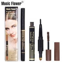 Brand Music Flower Eyes Makeup Set Waterproof Eyebrow Powder+Eyebrow Mascara Gel+ Kajal Eyebrow Pencil 3 Color Womens  Quick Dry недорого