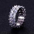 Trendy Women's Jewelry Hand Made Cubic zirconia Olive Branch Ring for Women and Men White Gold Plated Fashion Rings