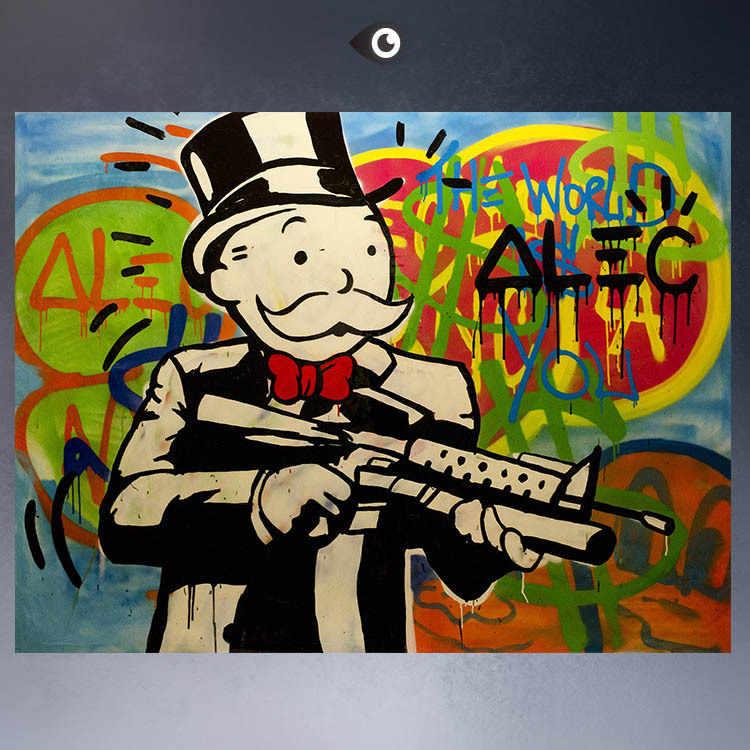 ALEC-MONOPOLY HUGE-GUN stampa su tela POP ART Giclée manifesto stampa su tela per la decorazione della parete della pittura