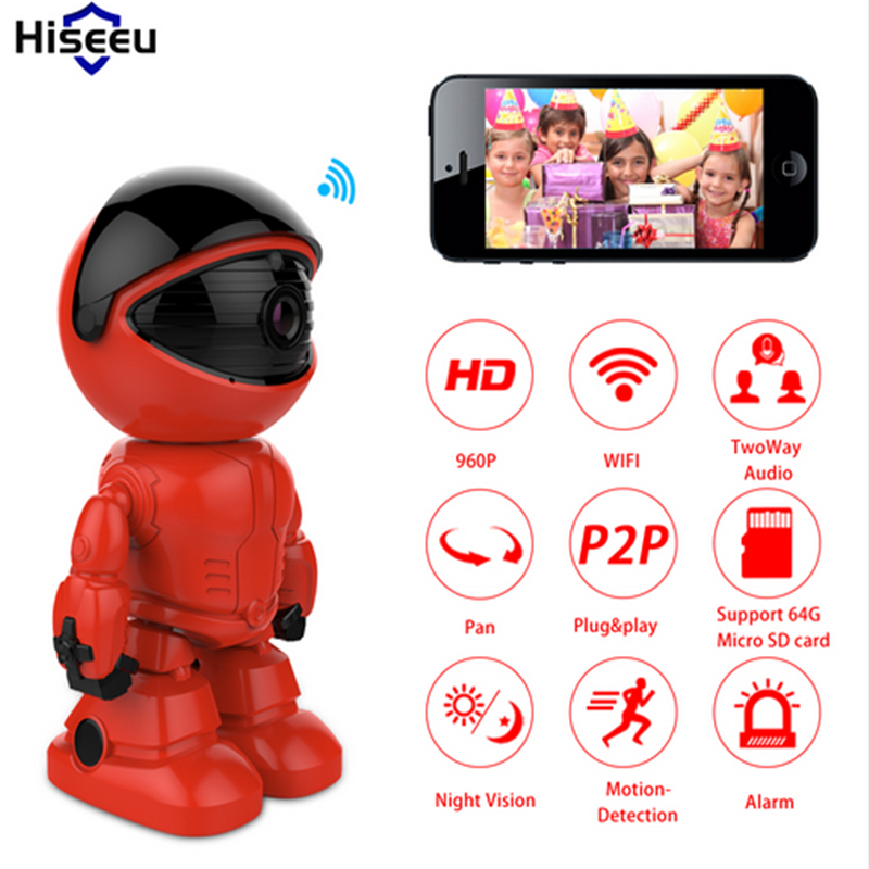 960P 1.3MP HD Security Camera Wireless IP Camera Wifi Wi-fi Robot Night Vision Network Camera CCTV Support Two-way Audio Hiseeu robot camera wifi 960p 1 3mp hd wireless ip camera ptz two way audio p2p indoor night vision wi fi network baby monitor security