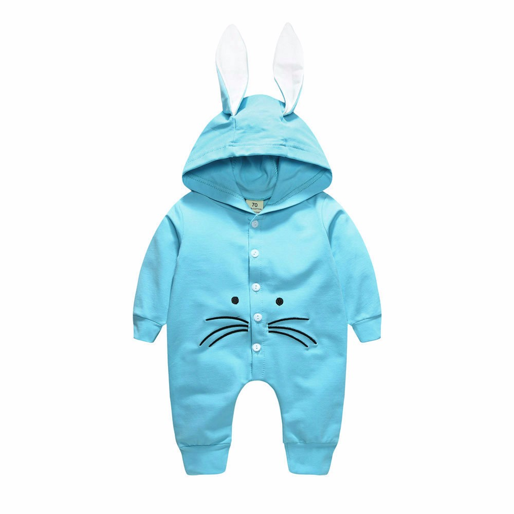 Rabbit Ears Hooded Romper Newborn Kids Baby Girls Boys Clothes Buttons Long Sleeve Rompers Jumpsuit Outfits Fashion ...