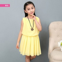 Girls Dress 2019 new O-neck summer Kids Clothes Sleeveless Pure color  Knee-length Children Clothing 3-14 Baby Girl Clothes kids girls summer dress red yellow solid color o neck flowers pattern a line knee length regular sleeveless girl dresses 5ds274