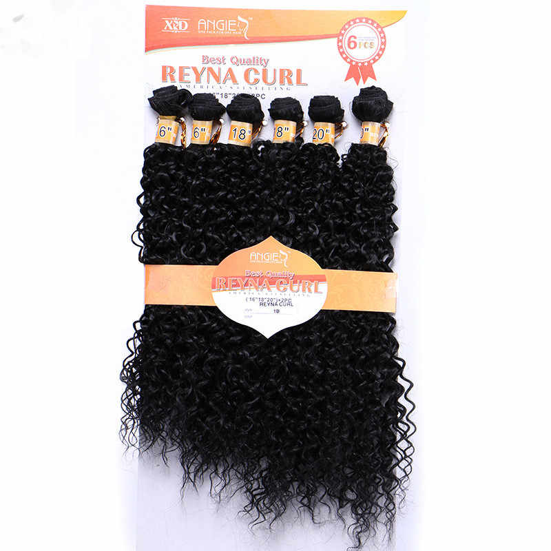 Eunice Hair 16-20inch 6pcs/pack Hair Weaving Kinky Curly Synthetic Hair Extensions Black 1B Double Weft Hair Weave Bundles