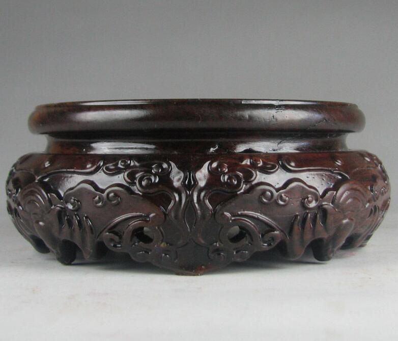 stand display China black hard wood carved bat flower round EBONY base 3.7 inch